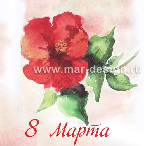 Заказать акварельную открытку с розой в студии MAR-design