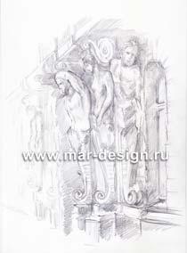Рисунок здания Санкт-Петербурга, рисунок Мойка 43