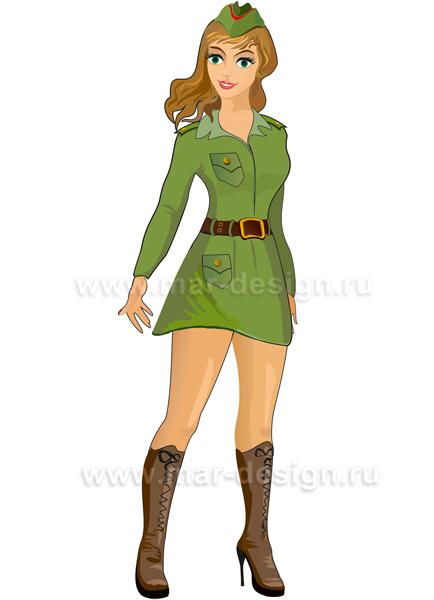 Рисунок девушки в военной форме. Рисованная открытка к 23 февраля.