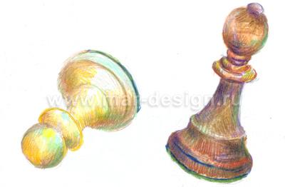 Акварельный рисунок шахматных фигур для эксклюзивного календаря.