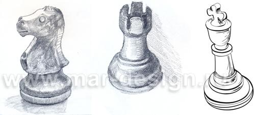Рисунок шахматных фигур для эксклюзивного календаря.
