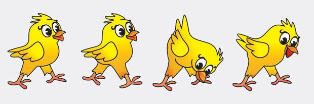 Пример кадров анимации для компьютерной игры