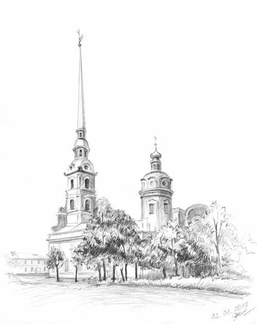 Карандашный рисунок, рисунок Петропавловской крепости
