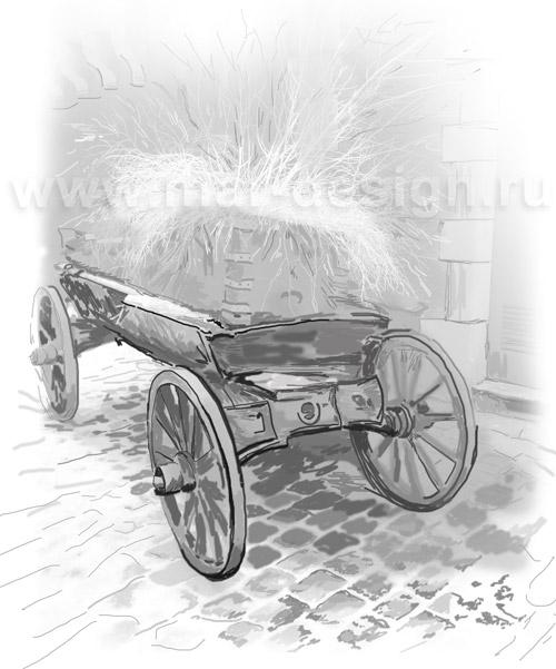 Старый Город. Рисунок телеги с соломой.