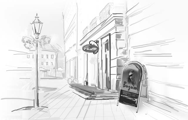 улица, кафе, штендер.
