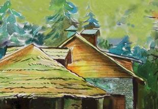 фрагмент крыши, акварель