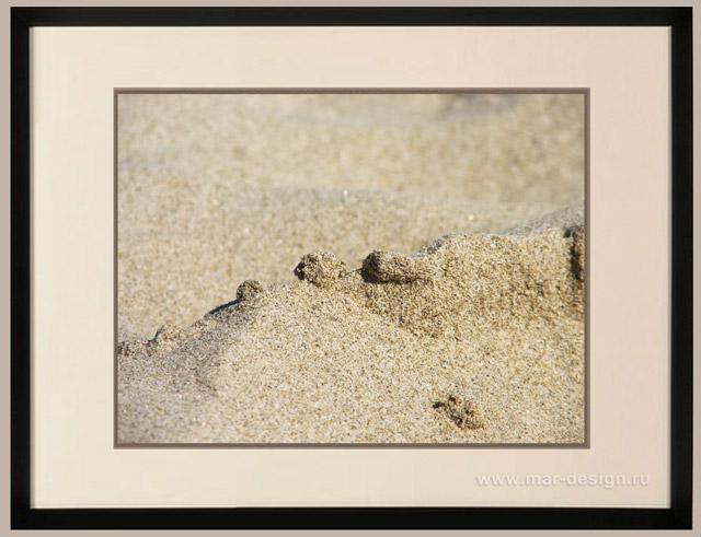 Фотография в интерьере, движение морского песка