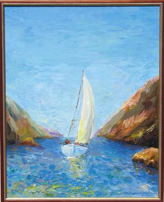 картина маслом: парусник в море, между скал